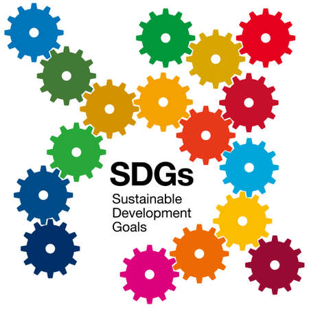 A combination of meshing gears and SDGs symbol colors. Image illustration of Sustainable Development Goals. Created with vector data.