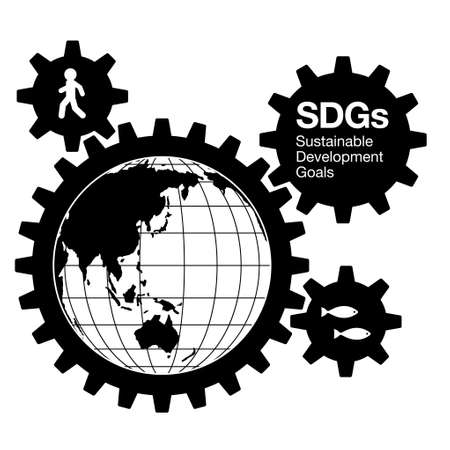 The silhouette of meshing gears. Humans, earth, living things. Image illustration of Sustainable Development Goals. Created with vector data.