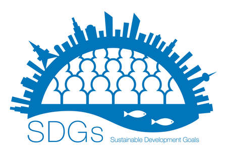 Sustainable development goals. SDGs. Cities, people, oceans, creatures, blue earth. Permanent development of humankind and the environment surrounding it. Created with vector data.