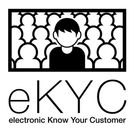 electronic Know Your Customer. eKYC. A man among many people. Image illustration of personal authentication. Created with vector data.