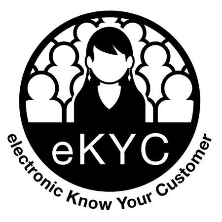 electronic Know Your Customer. eKYC. A woman among many people. Image illustration of personal authentication. Created with vector data. Vectores