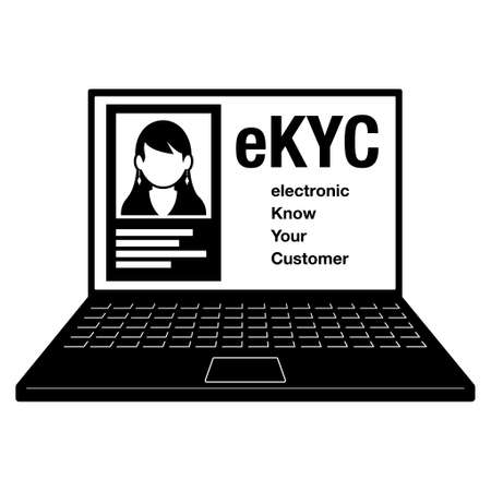 electronic Know Your Customer. eKYC. A female ID card on a computer. Image illustration of electronic personal authentication. Created with vector data.
