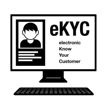 electronic Know Your Customer. eKYC. A male ID card on a computer. Image illustration of electronic personal authentication. Created with vector data.
