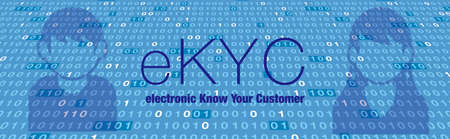 electronic Know Your Customer. eKYC. Binary data images and shadows of people.Image illustration of electronic personal authentication. Created with vector data.