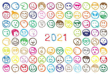 Many faces and 2021 numbers hand-painted with crayons. New year card design image.