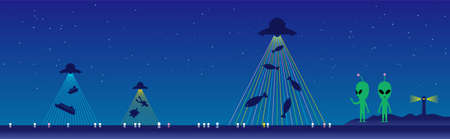 There is a lighthouse and fishing lights in the background of the aliens standing on the beach, and a starry sky in the background. A UFO is firing a laser beam at the sea, sucking up things from the Illustration