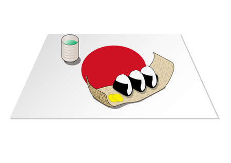 The image of a rice ball lunch box is reproduced with an illustration. A place mat with a national flag is laid underneath. Created with vector data. Vectores