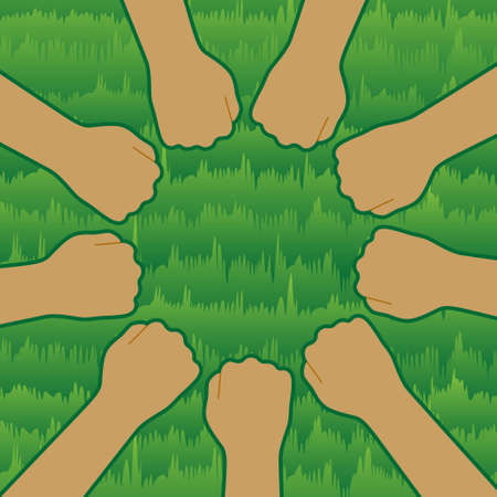 Illustration of nine people putting their fists together. An illustration of a lawn is placed in the background. Image of the unity of the baseball team. Created with vector data.