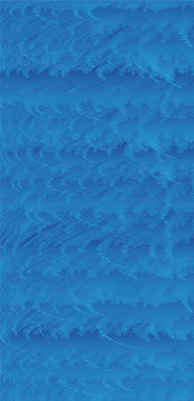 Hierarchically lay out objects with fine irregularities colored with blue gradation. Each object is curved in the same direction. Background image imagining waves. Created with vector data.