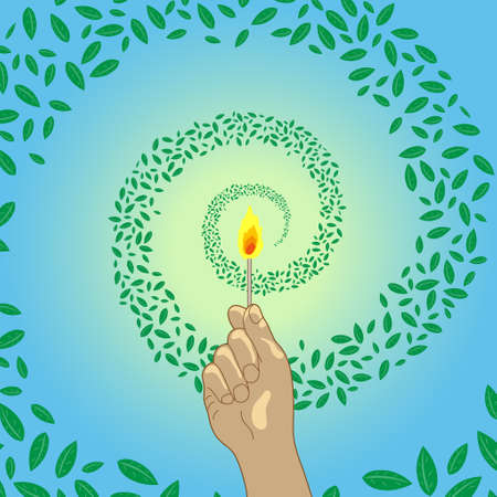 Illustration of a hand holding a lit match. A swirl of leaves surrounds the fire. Imaginary illustration of carbon neutral. Created with vector data. Vettoriali
