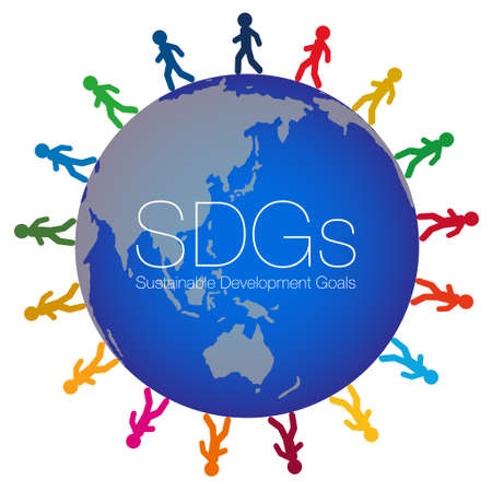Walkers colored with 17 symbol colors are laid out at equal intervals around the illustration of the earth.The SDGs characters are laid out in the center. Created with vector data. Vettoriali