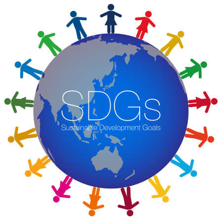 People colored with 17 symbol colors are laid out at equal intervals around the illustration of the earth. The SDGs characters are laid out in the center. Created with vector data.