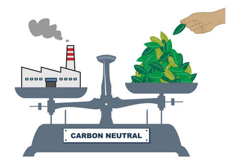 Illustration of the balance. There are factories and leaves on both sides of the balance, which are tilted slightly to the left. An illustration showing how to aim for carbon neutrality. Created with