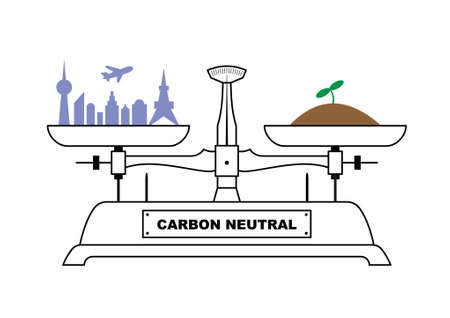 Illustration of the balance. The city and sprouts are on both sides of the balance, which is well-balanced. An illustration showing how to aim for carbon neutrality. Created with vector data.