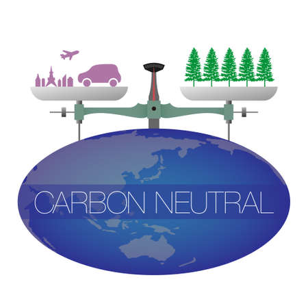 An illustration of a large balance on the earth. The city is on one side of the balance and the trees are on the other. Imaginary illustration of carbon neutral. Created with vector data.