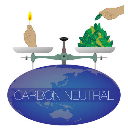 An illustration of a large balance on the earth. On both sides of the balance are a lit hand and a hand for stacking leaves. Imaginary illustration of carbon neutral. Created with vector data. Vettoriali
