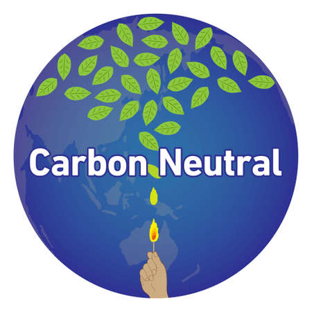 Illustration of a hand holding a match that overlaps the earth. The flame rises and turns into green leaves. Imaginary illustration of carbon neutral. Created with vector data.