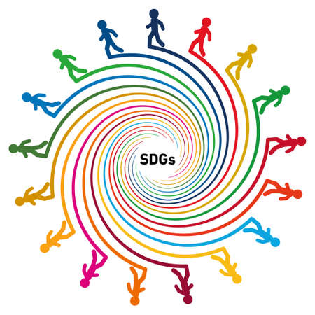A spiral colored with 17 symbol colors. At the tip of each spiral is an illustration of a walking person. The SDGs characters are laid out in the center. Created with vector data. Vettoriali