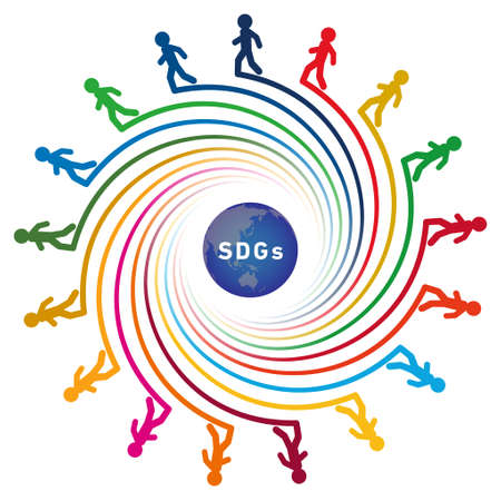 A spiral colored with 17 symbol colors. At the tip of each spiral is an illustration of a walking person. The illustration of the earth and the letters of SDGs are laid out in the center. Created with