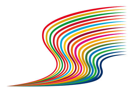 An illustration made up of 17 symbol color lines. One side of the 17 lines converges to one point. It spreads while drawing a wave toward the other side. Created with vector data.