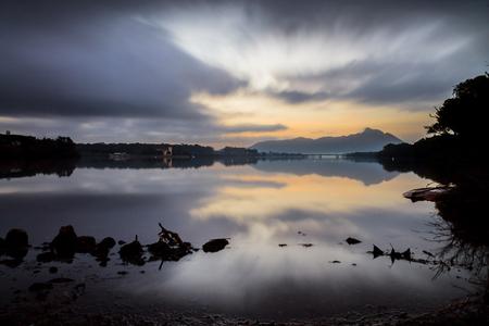 sunrise in lake of sabaudia