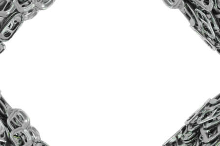 ring pull: The frame of the metal ring pull on white background