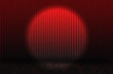 Red rising curtain with spotlight