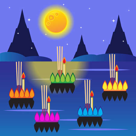 Loy krathong festival,Thailand full moon traditional festival Ilustração