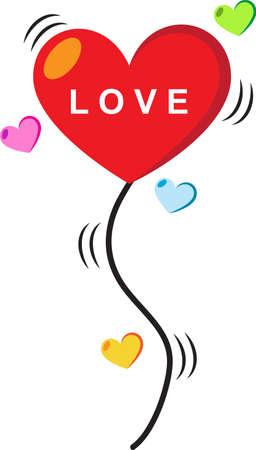 single color image: Heart love balloon Illustration