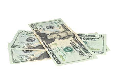 20 ドル紙幣、クリッピング パスと白で隔離。 写真素材