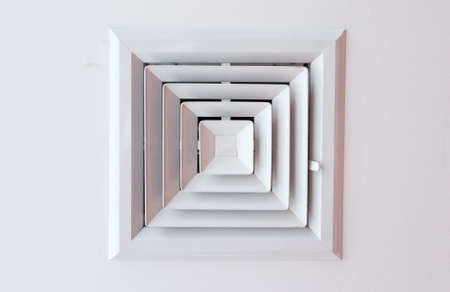 and cellulose: Air duct in square shape on Cellulose ceiling. Stock Photo