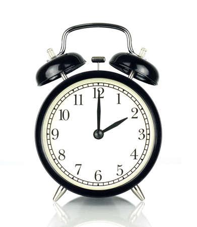 目覚ましの時計の白、黒と白で隔離 2 を示します。