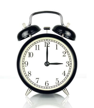 目覚ましの時計の白、黒と白で隔離 3 を示します。