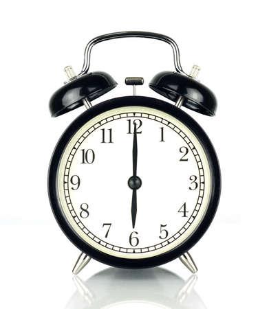 目覚ましの時計の白、黒と白で隔離 6 を表示します。