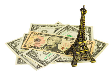 one hundred dollars: Dollar - money, Business savings, finances and analysis economy concept with Eiffel tower replica