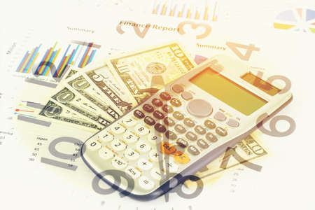 Double exposure of Business graph, money and clock for finance and banking concept.