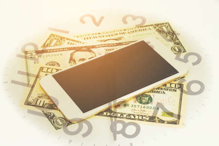 Double exposure of Money, Phone and clock for finance and banking concept.