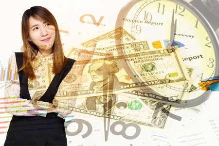 usd: Double exposure of Young Asian business woman smile with money and clock for finance and banking concept. Stock Photo