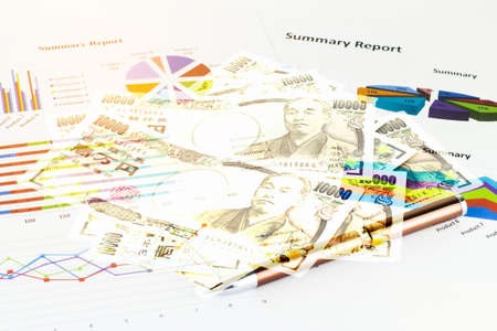 printout: Double exposure of japan money savings with economy concept background.