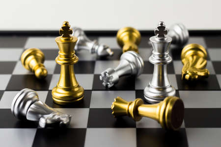 Beating all the rivals : Game of chess, selective focus. Stock Photo