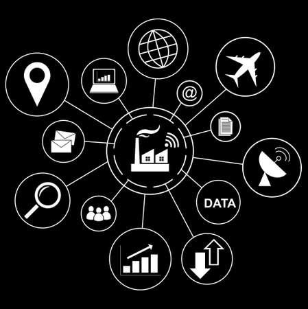 業界 4.0 コンセプト、ビジネス アイコン スマート工場。
