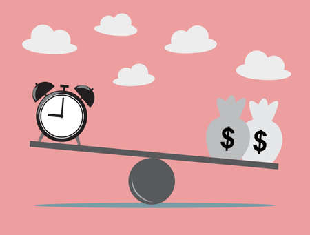 scale of justice: Balancing with dollar money and time. Business Concept, Vector Illustration. Illustration