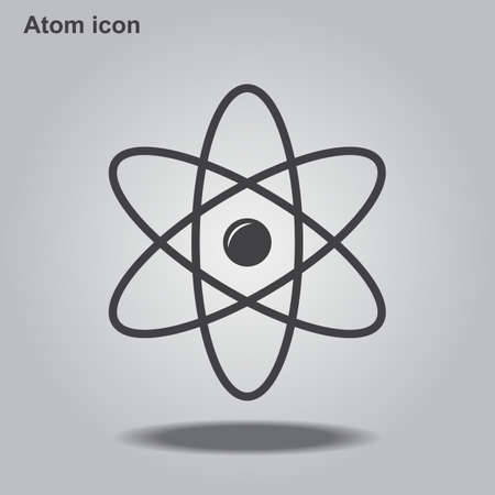 Atom icon is a flat gray iconic symbol for web design, app user interfaces, Vector illustration EPS10.