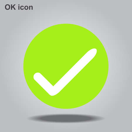 OK vector icon. Flat eco green symbol. Pictogram is isolated on a gray background. Designed for web and software interfaces, Vector illustration EPS10.
