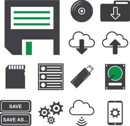Data analysis, information, storage icons set, Vector illustration EPS10.