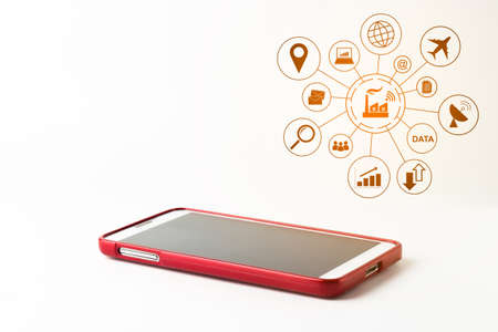 six objects: Red smartphones with blank screen on white background, Business Concept.