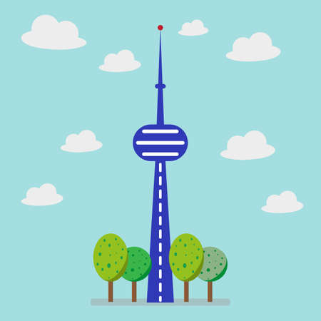 Business company building and tree with flat style. Illustration