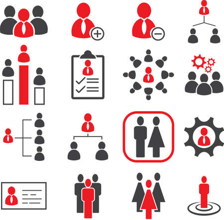 ビジネス オフィス管理のアイコン、スタッフ人事アイコン設定、ベクトル図 EPS10。  イラスト・ベクター素材