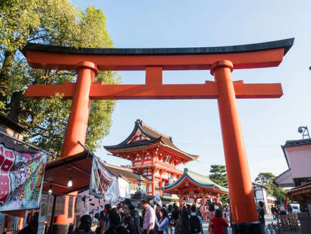 KYOTO, JAPAN - OCT 27, 2017: View of the approach road to Fushimi Inari Taisha Shrine in Kyoto, Japan.
