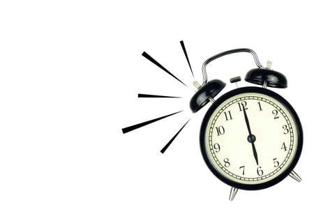 Alarm Clock wake-up time isolated on white background, showing six o'clock. 스톡 콘텐츠